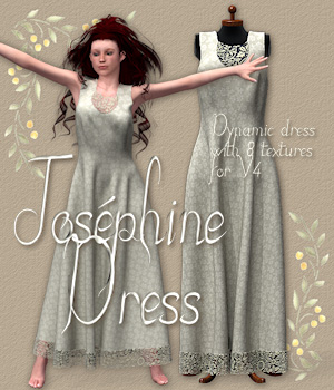 Josphine Dress for V4 3D Models 3D Figure Essentials Tipol