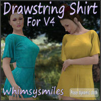 Drawstring Shirt for V4 3D Figure Assets WhimsySmiles
