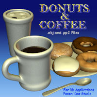 Donuts And Coffee 3D Models pappy411