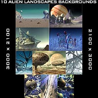 10 Alien Backgrounds 3D Models 2D duo