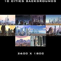 10 Cities Backgrounds 2D 3D Models duo