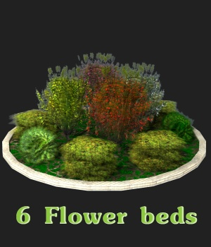 Flower Beds 3D Models greenpots
