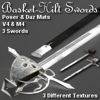 Merlins Basket-Hilt Swords 3D Models 3D Figure Assets Merlin_Studios