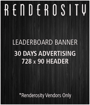 Renderosity 728x90 Banner Ad - 30 Days Services/Rosity Stuff Store Staff