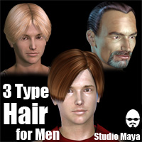 3Type Hair For Men 3D Figure Assets MayaX