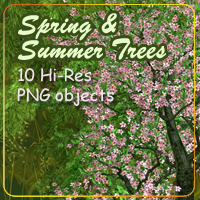 AG Spring and Summer Trees 2D Graphics 3D Models AdamantGrafix