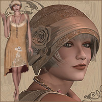 Flapper Dancer Dress V4, A4, G4 3D Figure Essentials 3D Models RPublishing