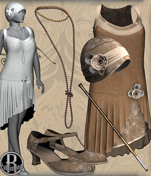Flapper Dancer Dress V4, A4, G4 3D Figure Assets RPublishing