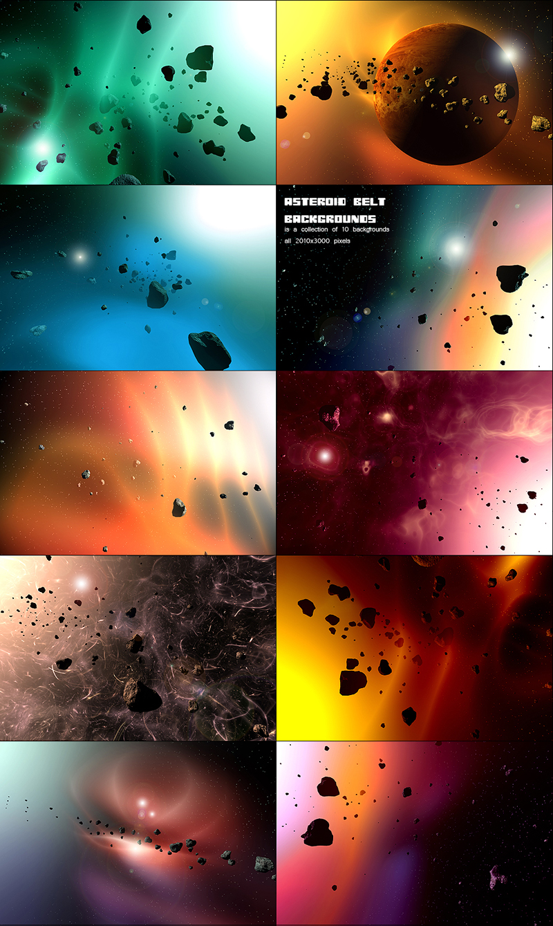 Asteroid belt backgrounds