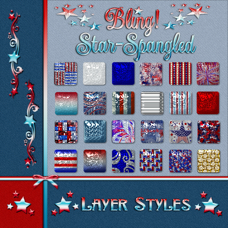 BLING Star-Spangled Layer Styles w/Free Gift
