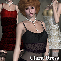 Clara Dress for V4,A4 & G4 3D Models 3D Figure Essentials RPublishing