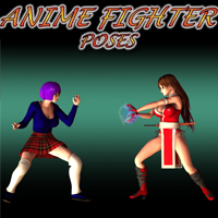 Anime Fighter Poses 3D Figure Assets apcgraficos