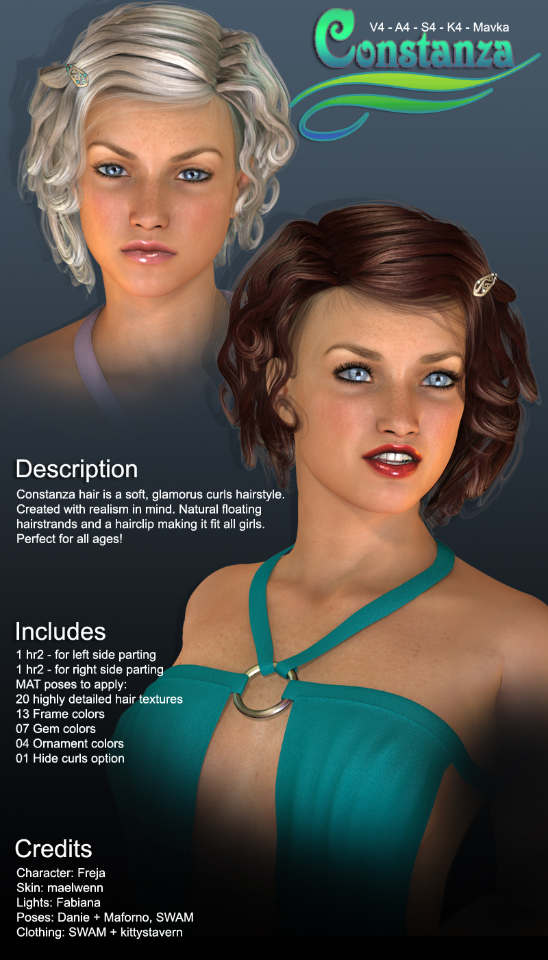 Contstanza Hair for V4 by SWAM
