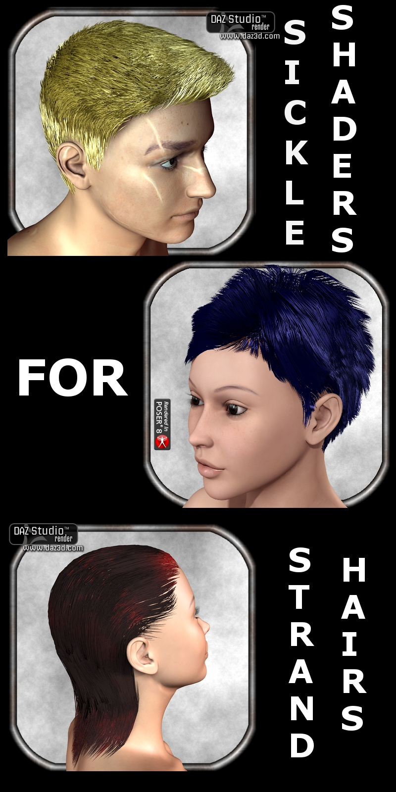 Sickle Shaders for Strand Hairs