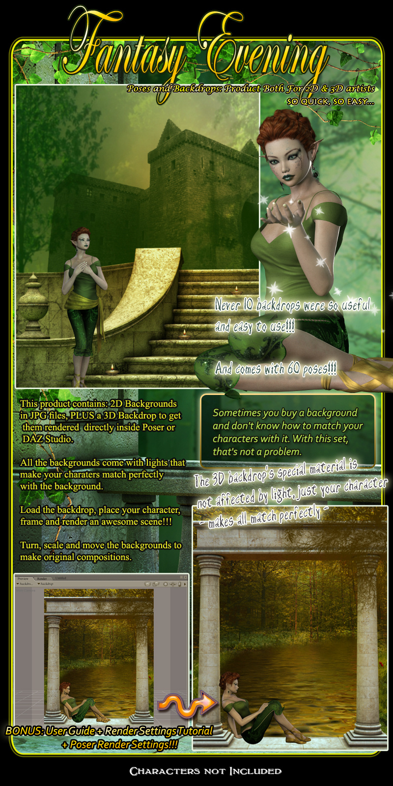 Fantasy Evening Collection Poses And Backdrops