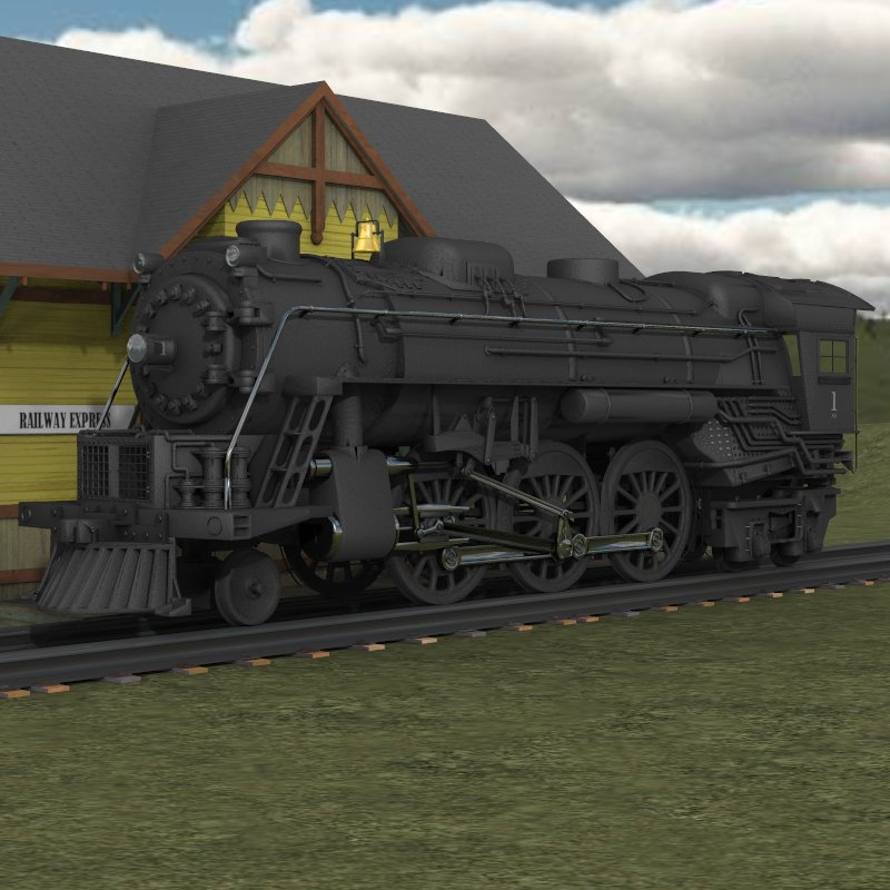 Steam Locomotive 2-6-4 (for Poser)