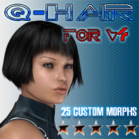 Slide3D Q Hair for V4 3D Figure Assets Slide3D
