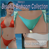 Beach and Bedroom collection for V4 3D Figure Assets WhimsySmiles