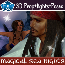 Magical Sea Night Collection Poses And Backdrops 2D Graphics 3D Figure Assets EmmaAndJordi