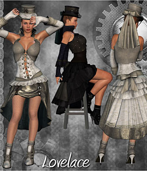 Steampunk Lovelace Clothes V4, A4, G4 3D Figure Assets 3D Models RPublishing