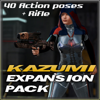 Slide3D Kazumi Cyber Assasin Expansion Pack Props/Scenes/Architecture Poses/Expressions Themed Slide3D