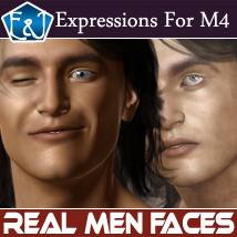 Real Men Faces: 50 Expressions For M4 3D Figure Assets EmmaAndJordi
