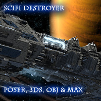 Allied Fleets Destroyer - Poser OBJ 3DS MAX 3D Models skynet3020