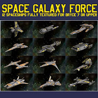 Space Galaxy Force 3D Models 2D Graphics duo