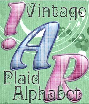 Harvest Moons Vintage Plaid Alphabet 2D MOONWOLFII