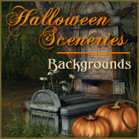 Halloween Sceneries 2D 3D Models -Melkor-