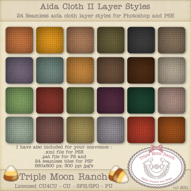 Aida Cloth II Layer Styles for Photoshop and PSE