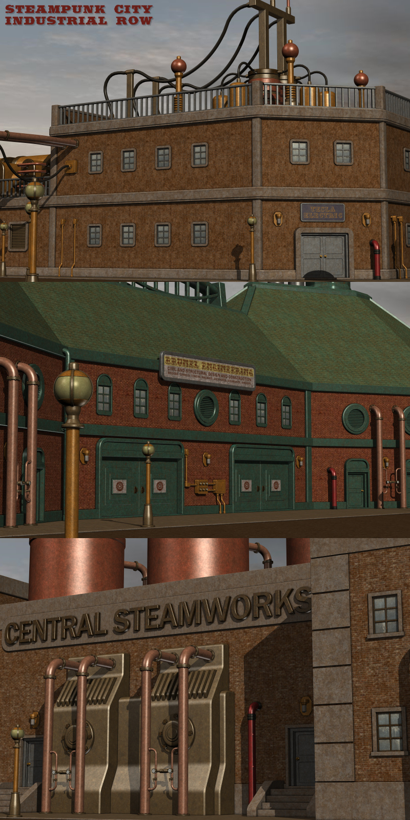 Steampunk City Industrial Row 3d Models Nightshift3d