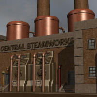 Steampunk City Industrial Row by Nightshift3D