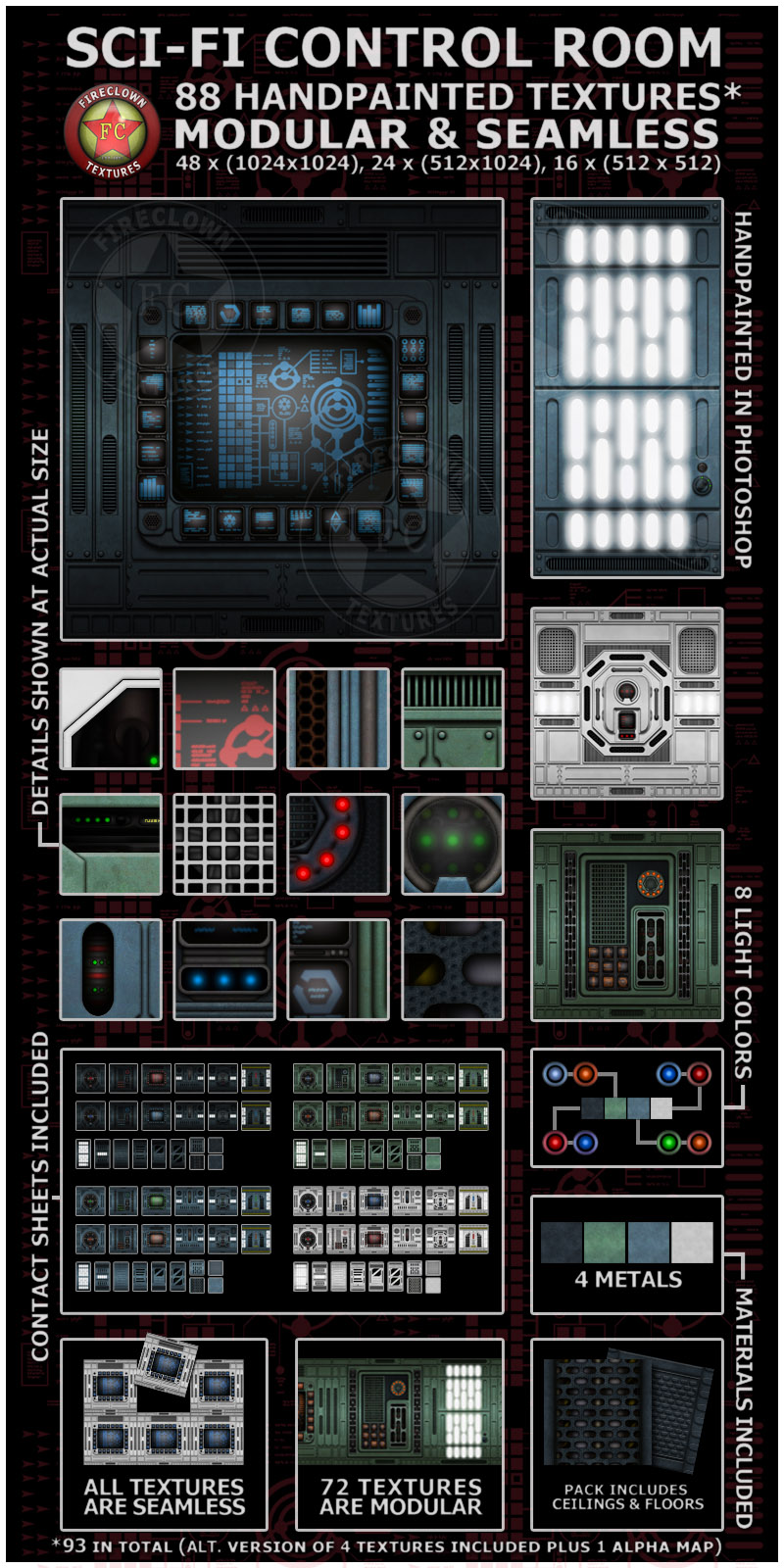 Spaceship Engine Room: Fireclown Sci-fi Control Room Textures 3D Models 2D