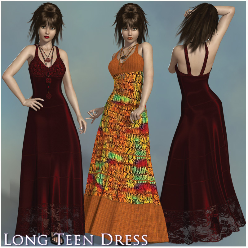 Long Teen Maxi Dress V4, A4, G4, S4, Elite