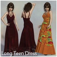 Long Teen Maxi Dress V4, A4, G4, S4, Elite 3D Figure Assets RPublishing