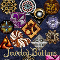 Harvest Moons Jeweled Buttons  2D And/Or Merchant Resources Themed MOONWOLFII