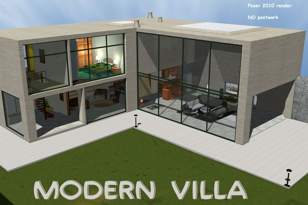 Modern villa 3d models greenpots for Model facade villa moderne