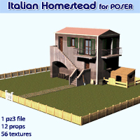 Italian Homestead for Poser Props/Scenes/Architecture Themed Software enxo69