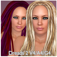 Dreads 2 Hair V4 A4 G4 3D Figure Essentials nikisatez
