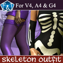 Skeleton Outfit For V4/A4/G4 3D Figure Assets EmmaAndJordi