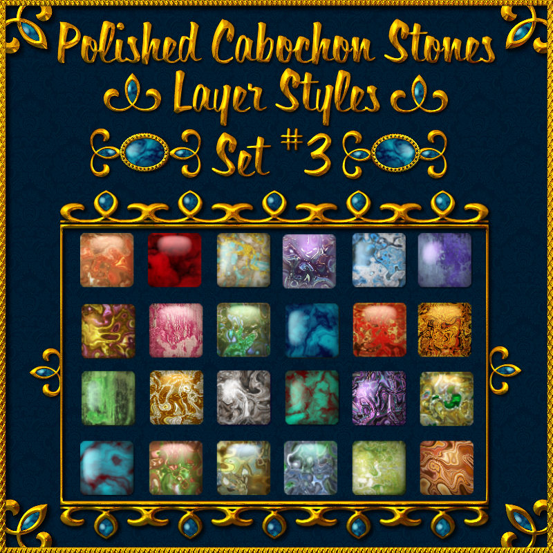 Polished Cabochon Stone Layer Styles (Set No. 3)