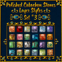Polished Cabochon Stone Layer Styles (Set No. 3) 2D And/Or Merchant Resources Themed fractalartist01