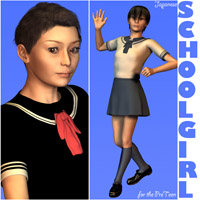 Japanese SchoolGirl for the PreTeen 3D Figure Assets Oskarsson
