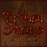 Pd-Tribal Stars Photoshop Brushes + Styles 2D 3D Models parrotdolphin