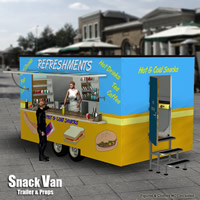 Snack Van Trailer Transportation Props/Scenes/Architecture Themed Simon-3D