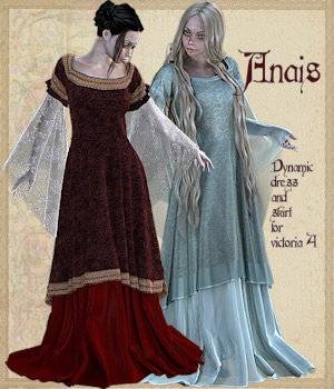 Anais dynamic dress and skirt 3D Figure Assets Tipol