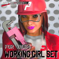 Working Girl Set VAGS4 3D Figure Assets billy-t