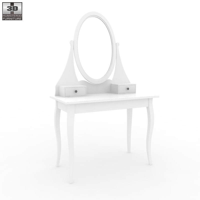 Dressing table with mirror hemnes 3d model 3d studio - Hemnes dressing table with mirror white ...