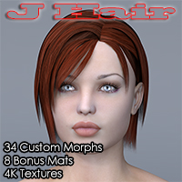 Slide3D J Hair for v4 3D Figure Assets Slide3D